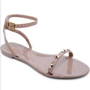 Shoes - NEW Dark Beige Sandals with Strap with Gold Studs!